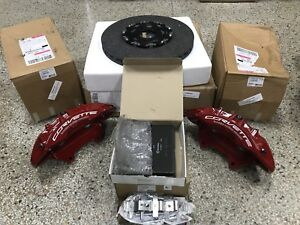 2016 Corvette Z06 Front Red Brembo Carbon Ceramic Gm Brake Calipers Rotors Pads