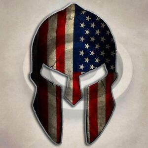 American Flag Spartan Helmet Decal Sticker Usa Molon Labe Patriot 2nd Amendment