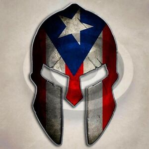 Puerto Rico Spartan Helmet Sticker Star Flag Decal