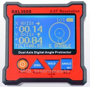 Dxl360s Digital Protractor Inclinometer Dual Axis Level Box 0 01 Hi resolution