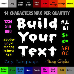 Build Your Text Sticker Vinyl Custom Decal Choose Color Size Style Language