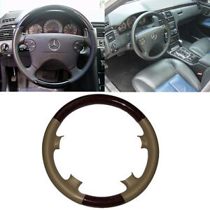 Tan Leather Wood Steering Wheel Cover For 00 02 Mercedes W210 E C208 W208 Clk