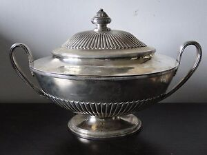 Sterling Silver Soup Tureen Georgian London 1790 Marked Queen Anne Fluted
