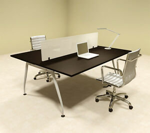 Two Person Modern Divider Office Workstation Desk Set of con ap6