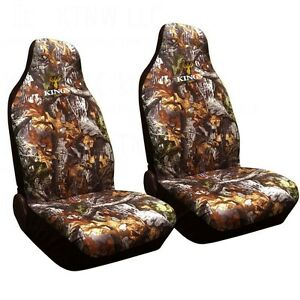 2pc King s Camo Woodland Shadow Camouflage Seat Covers Universal Bucket