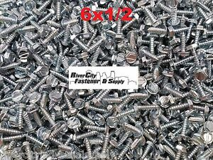 2500 6 X 1 2 Slotted Hex Washer Head Self Tapping Sheet Metal Screws Sms