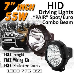 Hid Xenon Driving Lights Pair 7 Inch 55w Spot Euro Beam Combo 4x4 4wd Off Road