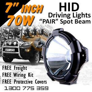 Hid Xenon Driving Lights Pair 7 Inch 70w Spot Beam 4x4 4wd Off Road 12v 24v