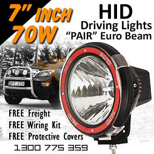 Hid Xenon Driving Lights Pair 7 Inch 70w Euro Beam 4x4 4wd Off Road 12v 24v