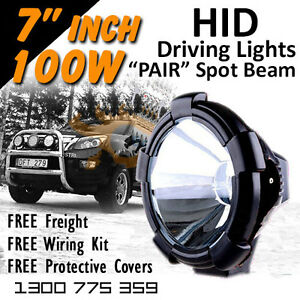 Hid Xenon Driving Lights 7 Inch 100w Spot Beam 4x4 4wd Off Road 12v 24v