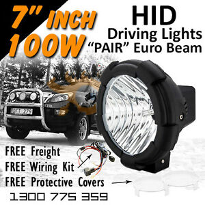 Hid Xenon Driving Lights 7 Inch 100w Euro Beam 4x4 4wd Off Road 12v 24v