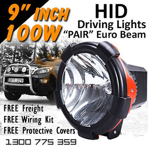 Hid Xenon Driving Lights 100w Pro 9 Inch Euro Beam 4x4 4wd Off Road 12v 24v