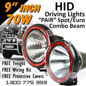 Hid Xenon Driving Lights Pair 9 Inch 70w Spot Euro Beam Combo 4x4 4wd Off Road