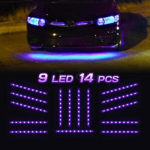 Set 14 Tubes Car Underbody Under Glow Purple Led Light Strip 9 3528 smd Lighting