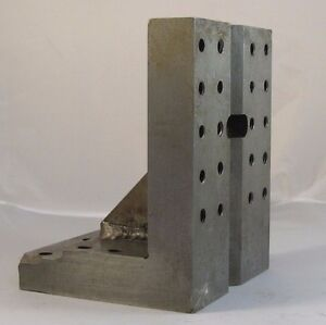 Used Steel Angle Plate 3 7 x3 575 x4 88 W 20 1 4 20 Tapped Holes jt