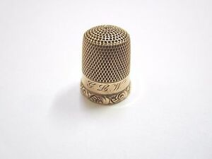 Antique 10k Gold Sewing Thimble Size 7