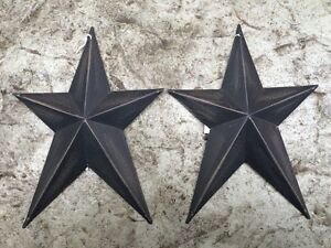 Set Of 2 Whimsical Black Barn Stars 8 Primitive Rustic Country Decor