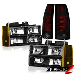 94 98 Gmc Sierra 1500 Inky Black Headlights Corner Dark Tinted Tail Lamps L r
