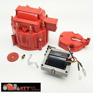 Gm Hei Red Distributor Cap Rotor Set Sbc Bbc Replacement Includes 65k Coil
