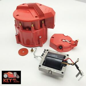 Chevy Gm Red Hei Large Distributor Cap Rotor Kit Sbc Bbc 350 454 W 65k Coil