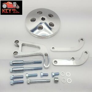 Small Block Chevy Power Steering Bracket Pulley Polished Aluminum Sbc Lwp 350