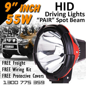 Hid Xenon Driving Lights Pair 9 Inch 55w Spot Beam 4x4 4wd Off Road 12v 24v