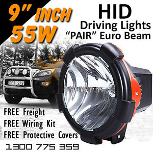 Hid Xenon Driving Lights Pair 9 Inch 55w Euro Beam 12v 24v 4x4 4wd Off Road