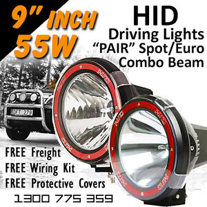 Hid Xenon Driving Lights Pair 9 Inch 55w Spot Euro Beam Combo 4x4 4wd Off Road