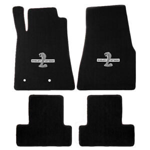 2005 2010 Gt 500 Mustang Black 4pc Floor Mats Set Shelby Cobra Snake Logos