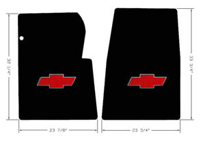 New Black Floor Mats 1967 1970 Chevy Pickup Truck C10 K10 Red Embroidered Logo