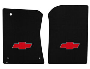 New Black Floor Mats 1973 1983 Chevy Pickup Truck C10 K10 Red Embroidered Logo