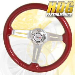 For Audi Vw Lotus Red Wood Trim 3 Spokes Streak Design Steering Wheel R Button