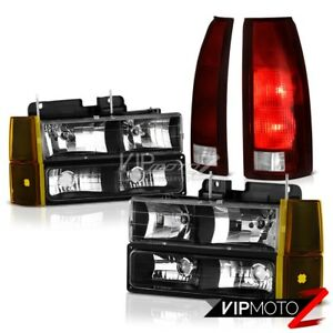 94 98 Gmc Sierra Nighthawk Black Headlamps Bumper Smoked Red Tail Brake Lights
