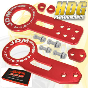 For Acura Honda Lexus Mitsubishi Red Cnc Front Rear Tow Hook Jdm Sport