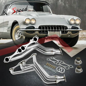 262 400 Fat Fender Well Stainless Steel Header Exhaust For 35 48 Sbc Street Rod