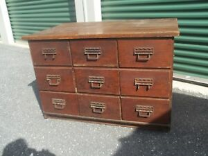 Vintage Oak Store Counter Store Fixture 9 Drawers Paneled Sides