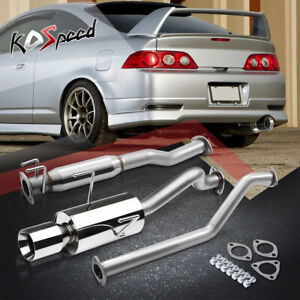 4 rolled Tip Muffler Catback Exhaust System For 02 06 Rsx Dc5 Non Type s K20a3