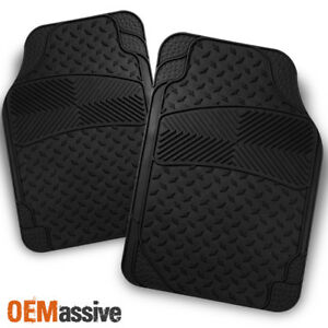 All Weather Metal Style Black Car Front Floor Mats 2 Pieces Liner Heavy Duty