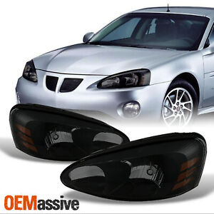 Fit 04 08 Pontiac Grand Prix Black Smoked Headlights Front Lamps Replacement