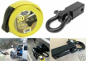 2 D ring Hitch Receiver 30 X 4 Tow Recovery Strap Offroad New Free Shipping