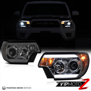 Titanium Smoke 2012 2015 Toyota Tacoma Trd Halo Led Drl Headlights Headlamps