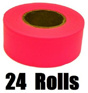 24 Rolls 65603 150 Ft Glo Pink Vinyl Flagging Tape Marking Ribbon