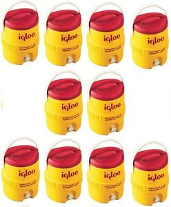 10 Igloo 421 2 Gallon Yellow Red Plastic Commercial Drinking Water Coolers