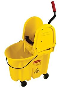 Rubbermaid 7577 88 yel 35 Quart Wavebrake Yellow Mop Bucket Wringer