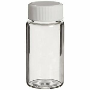 50x Lab Chemical Sample Glass Bottle Vial Hdpe Air Tight Lid 20ml Brand New