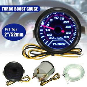 Turbo Boost Gauge Meter Pressure 52mm 2 Digital Led Light Smoke Tint 35psi 12v