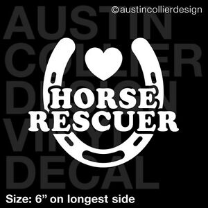 6 Heart Horse Rescuer Vinyl Decal Car Window Laptop Sticker Equine Usa