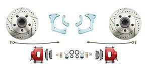 1965 68 Chevy Impala High Performance Disc Brake Kit Red Powder Coated Calipers