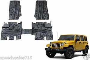 Oem Front Rear Slush Floor Mats 2007 2013 Jeep Wrangler 4 Door New Free Ship