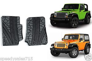 Oem Front Slush Floor Mats For 2007 2013 Jeep Wrangler 2 Door New Free Shipping
